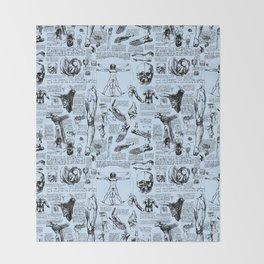 Da Vinci's Anatomy Sketchbook // Light Blue Throw Blanket