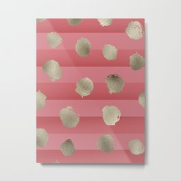 Gold dots on rosy coral stripes Metal Print