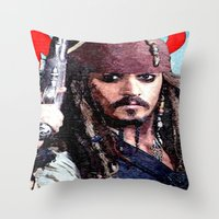 jack sparrow Throw Pillows featuring Jack Sparrow by Brian Raggatt