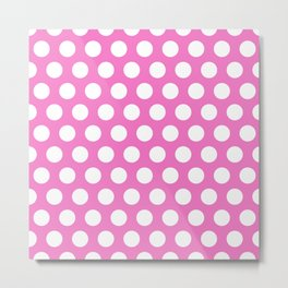 Pink and White Polka Dots 772 Metal Print