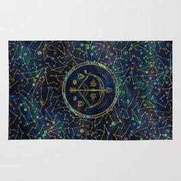 Sagittarius Zodiac Gold Abalone on Constellation Rug