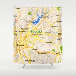 Georgia Map Design - USA map Shower Curtain