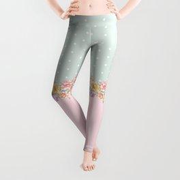 Vintage green pastel pink yellow floral polka dots Leggings