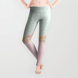 Vintage green pastel pink yellow floral polka dots Leggings