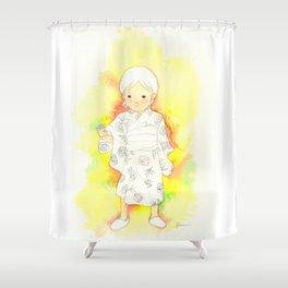 kimono girl rainbow Shower Curtain
