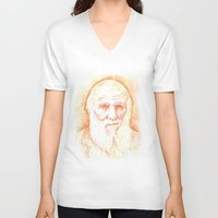 darwin V-neck T-shirts featuring CHARLES DARWIN by willeyworks