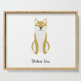 Shiba Inu dog cute illustration t-shirt. For dog lovers. Wear this dog breed t-shirt everywhere. Serving Tray