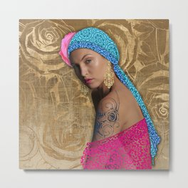 Woman with Rose Tattoo Metal Print