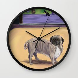 Lonely Pug Wall Clock