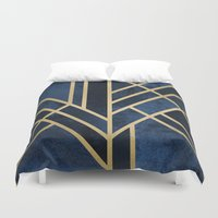 art deco Duvet Covers featuring Art Deco Midnight by Elisabeth Fredriksson