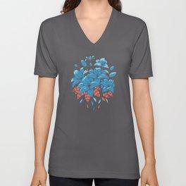 BLUE LILIES FLOWER DESIGN Unisex V-Neck