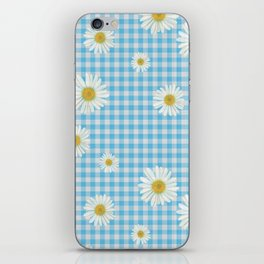 Daisies On Blue Gingham iPhone Skin