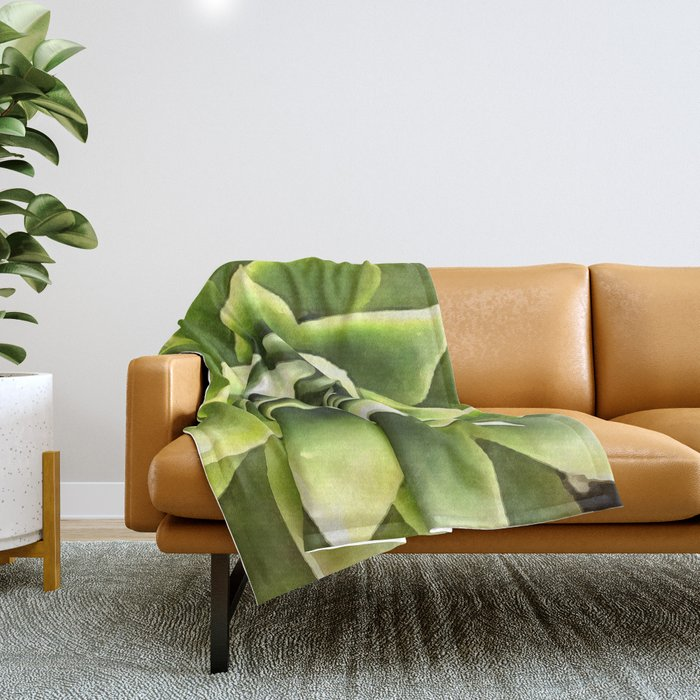 Green Succulent Close Up Throw Blanket