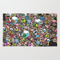 sticker Area & Throw Rugs featuring Sticker Bomb by thickblackoutline