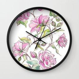 Pink Climbing Rose Wall Clock