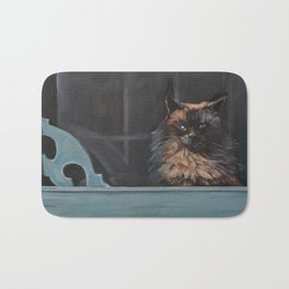 Ragdoll Cat Blue Eyes Inside (screen door with gingerbread)  Bath Mat