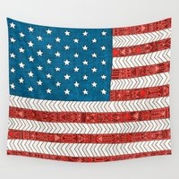 flag Wall Tapestries featuring USA by Bianca Green