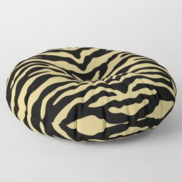 Zebra Wild Animal Print Black and Gold Floor Pillow