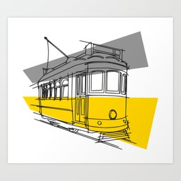 Lisbon Railway Train Art Print