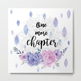 One more chapter - Flower Drops white watercolor illustration Metal Print