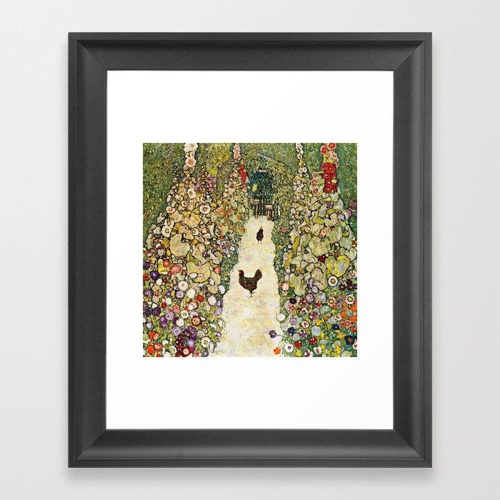 Gustav Klimt Garden Path With Chickens Gerahmter Kunstdruck