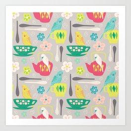 Tea Time for Budgies Art Print