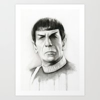 spock Art Prints featuring Spock by Olechka