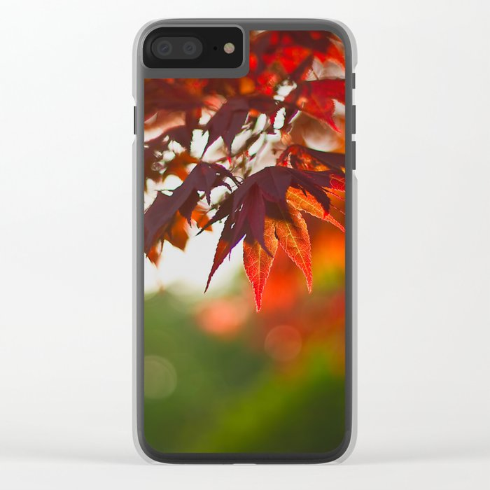 Indian Summer III Season Autum red Leaves Fall #Society6 Clear iPhone Case