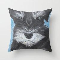 schnauzer Throw Pillows featuring Schnauzer by Christina Zoernig