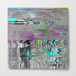 Glitch psychedelic background. Old TV screen error. Metal Print