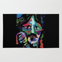dave grohl Area & Throw Rugs featuring Self portrait as Dave Grohl by brett66
