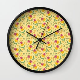 Lemon Floral Pattern Wall Clock