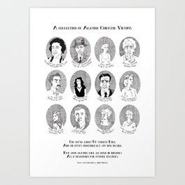 Illustrated Collection of Agatha Christie Victims Art Print