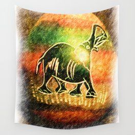 Elephant on a colored easter egg Wall Tapestry