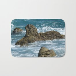 Underwater  moss-covered cliffs breaking the surface Bath Mat