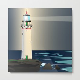 Lighthouse Night Background Metal Print