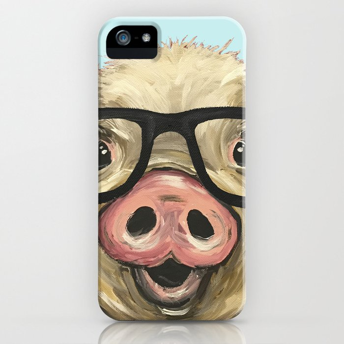 Cute Pig Painting Farm Animal With Glasses Iphone Case By Leekeller