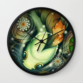 Filigree Fins -Orange Wall Clock