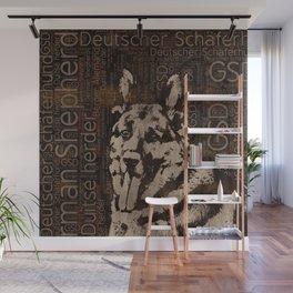 German Shepherd Dog - Wooden Texture Wall Mural