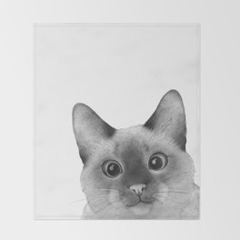 Siamese sneak-a-peek Throw Blanket