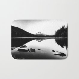 Fantastic Morning - Mount Hood Reflection Black and White Bath Mat