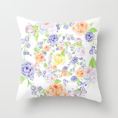 Bouquet of Orange AND Blue rose - wreath Throw Pillow