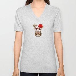 Red Day of the Dead Sugar Skull Leopard Cub Unisex V-Neck