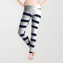 Simply Drawn Stripes in Nautical Navy Leggings