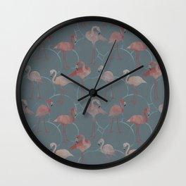 Walk with pink flamingos Wall Clock