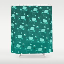 Space age retro teal squares decorator pattern Shower Curtain