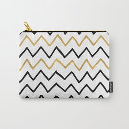 Writing Exercise- Simple Zig Zag Pattern - Black on White Gold - Mix & Match Carry-All Pouch