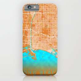 Long Beach, CA, USA, Gold, Blue, City, Map iPhone Case