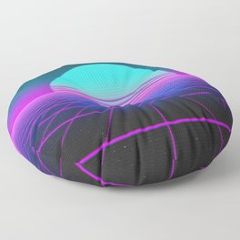 80's Retro Neon Grid Floor Pillow