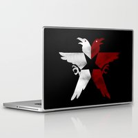 infamous Laptop & iPad Skins featuring Infamous: Second Son - Jacket Bird Logo (Distressed) by Dsavage94